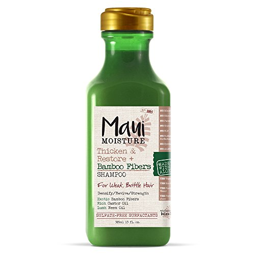 Shampoo Bamboo Hair - Maui Moisture Thicken & Restore + Bamboo Fiber Sulfate Free Shampoo, 13 Ounce, Helps Soften Treated, Natural, or Transitioning Hair, Helps Renew Brittle, Dry Hair