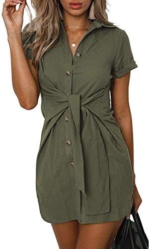 Tie Belt Mini - SVALIY Womens Summer Short Sleeve Casual Tunic Button Down Club Short Mini Party Shirt Dresses Army Green