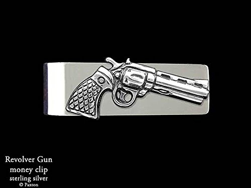 Pistol Revolver Money Clip in Solid Sterling Silver Hand Carved, Cast & Fabricated by Paxton by Paxton Jewelry