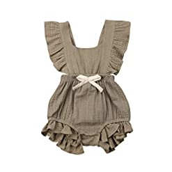ITFABS Newborn Baby Girl Romper Bodysuits Cotton Flutter Sleeve One-Piece Romper Outfits Clothes 22