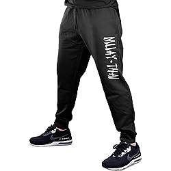 Men's Muay Thai Fighter V442 Black Fleece Gym Jogger Sweatpants Small Black