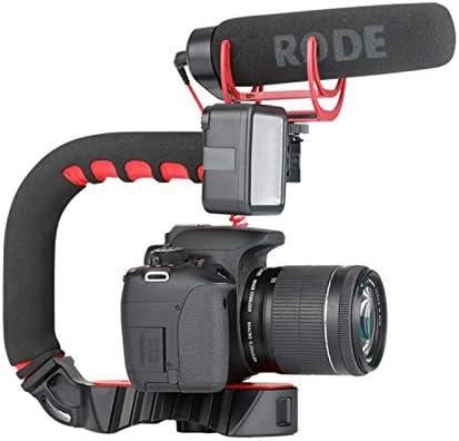 Semoic Ulanzi U-Grip Triple Cold Shoe Mount Stabilizer Handle Grip Rig Photo Studio Set with Microphone for DSLR Smartphone