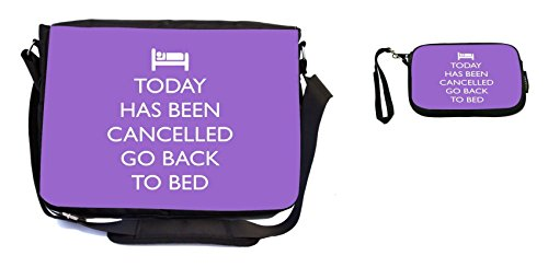 Rikki Knight Today has Been Cancelled Go Back to Bed Violet Color Design Messenger Bag - School Bag - Laptop Bag - with Padded Insert - Includes UKBK Premium Coin Purse