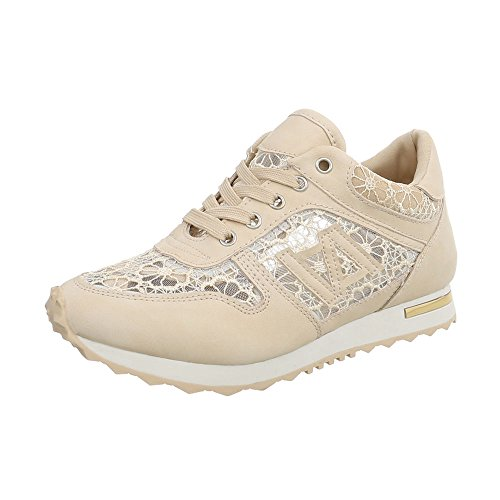 Chaussures Femmes-design Italien Casual Sneakers Bas Beige Bk-5-1
