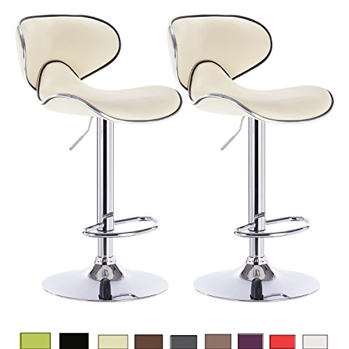 WOLTU 2crm-c Set of 2 Modern Barstools with Backs Hydraulic Synthenic leather stools for bar,Counter and Kitchen Stools Adjustable Seat Height:24.4 to 32.7 inch,Cream (27 Inch Counter Stools)