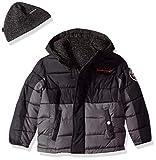 Weatherproof Boys' Toddler Reversible to Sweater Fleece Jacket, Black/Charcoal 3T