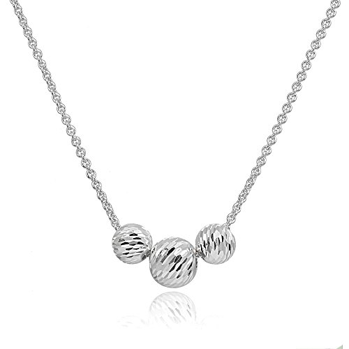 Hoops & Loops Sterling Silver Diamond-Cut 8mm & 10mm Sliding Beads Necklace ()