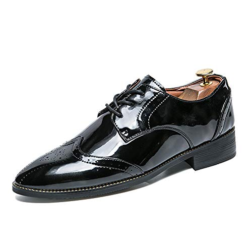 Cricket Stile Nero Verniciata Fashion in Casual con Uomo di Business Contrasto Brogue Scarpe Pelle da Oxford da Britannico Scarpe Fashion Retro Colore qw4Rf