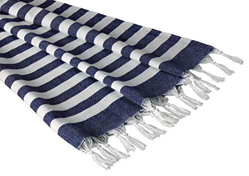 Sandy Beaches 100% Organic Cotton Turkish Towel, Large Beach Towel/Bath Towel, 39x70 (Navy)