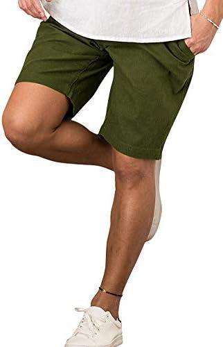 メンズ ショートパンツ ハーフパンツ 短パン コットン シンプル 膝上 無地 綿 麻 VIB19-05【+】