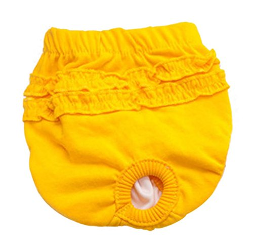 Shybuy Hot Cute Pet Dog Panty Brief Bitch in Season Sanitary Pants Female Girl Dog Physiological Pants Pet Underwear Shorts Diapers (XS, Yellow)
