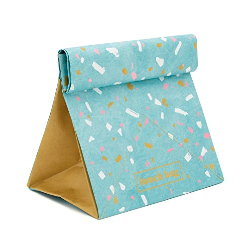 (Blue Paper Lunch Bag - Insulated Thermal Tear-Proof Lunch Box - Reusable Waterproof Lunch Holder Bags Folds Out Into Placemat - Includes Nifty Utensil Pouch)
