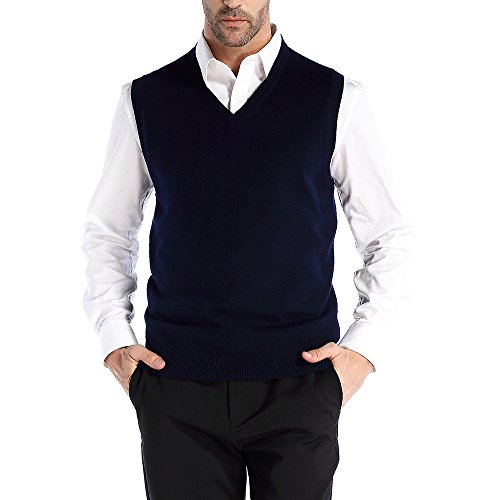x Fit V-Neck Vest Knit Sweater Cashmere Wool Blend, Navy Blue, X-Large (Knit Wool Blend Sweater)