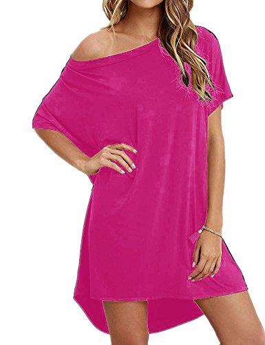 Haola Women Loose T Shirts Home Short Shirt Mini Dresses Tops XL Rosered]()