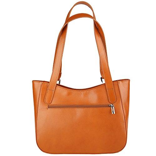 Cuoio Cm Bag Spalla Pelle In Shoulder 34x23x10 Borse Chicca Donna Italy Vera Da Borsa Made A 6qZ0RU