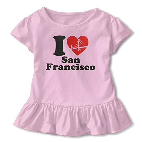 I Love San Francisco Heart Toddler/Infant Girls Short Sleeve T-Shirts Ruffles Shirt Shirt Pink -