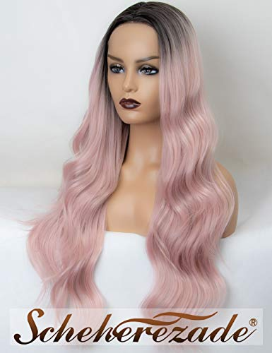 Natural Wavy Ombre Pink Lace Front Wig with Black Roots Long Pink Synthetic Wigs for Women Scheherezade 24 Inches Hair Glueless Heat Resistant ()