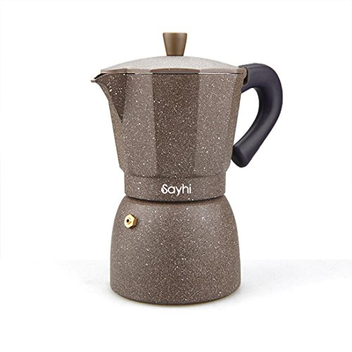 Moka Espresso Maker, Sayhi 240ML Color Aluminum Stovetop Espresso Pot Moka Express Coffee Maker, Makes 4 Cup (Coffee) (Industrial Expresso Machine compare prices)