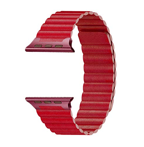 MGABS Compatible for Apple Watch Band 42mm/44mm Leather Loop - Adjustable Magnetic Replacement Wristband Strap for iWatch Series 4 Series 3 Series 2 Series 1 Sport Color Red