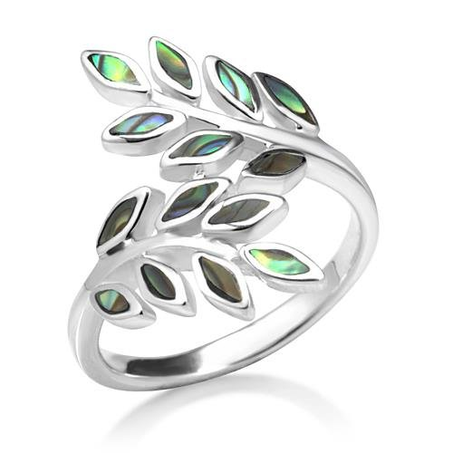 Ivy Vine Ring - Chuvora 925 Sterling Silver Natural Green Abalone Shell Ivy Leaf Vine Design Ring, 23 mm Size 8