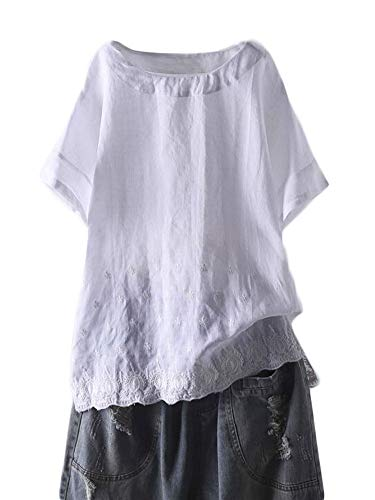 (Mordenmiss Women's Linen Embroidered Shirt Blouse Short Sleeve T-Shirt Tops Hi-Low Tunics (M, White))