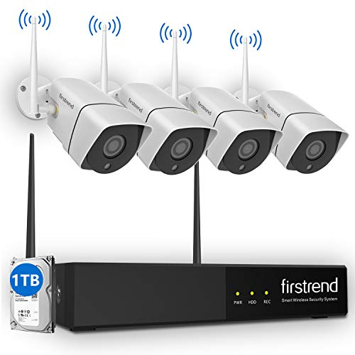 Security Camera System Wireless, Firstrend 8CH HD Wireless Security Camera System with 4pcs 1.3MP IP Security Camera and 1TB Hard Drive Pre-Installed, P2P CCTV Camera System with 65ft Night Vision