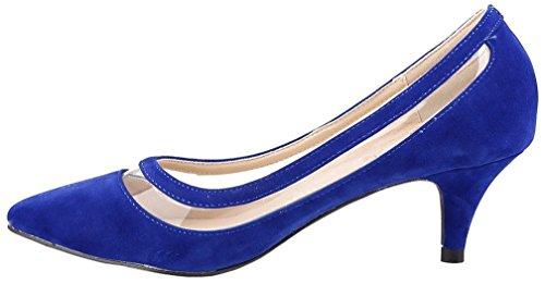 Calaier Damen Cahot 4CM Stiletto Schlüpfen Pumps Schuhe Blau B