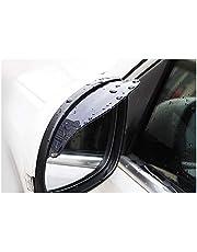 JC SPORTLINE 2 Pcs Automotive Two Piece Smoked Black Mirror Rain Visor Smoke Guard (Black)