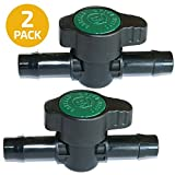 2-Pack in-Line Coupling Barbed Ball Valve 13mm for 1/2 inch Tubing .520 ID - Regulate Water Flow/Shut Off in Aquariums, Aquatics (NOT for Drip Irrigation)