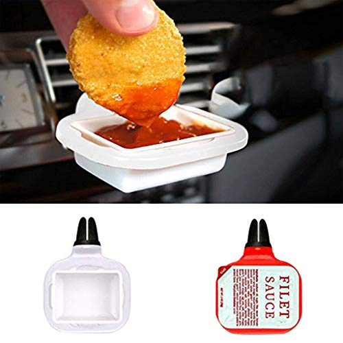 Sacow Car Sauce Holder , Saucem Dip Clip in-car Sauce Holder for Ketchup Dipping Sauces 2019 New (White)
