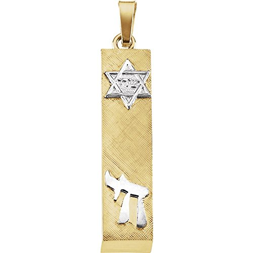 - Jewels By Lux 14K Yellow and White Two Tone Gold 28x6mm Mezuzah Pendant