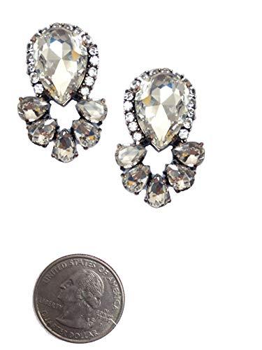 (Art Deco Antique Vintage Retro Style Pear Shape Halo Rhinestone Imitation Diamond Wedding Bridal Prom Formal Cluster Earrings)