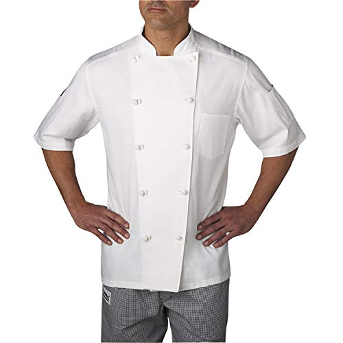 Chefwear Chef Coat Mens, Premium Lightweight 100% Cotton Twill, Short Sleeve with 2 Pockets & Cloth Knot Buttons (Medium) White