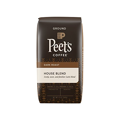 Peet's Coffee, House Blend, Dark Roast, Ground Coffee, 12 oz. Bag, Bright, Lively, and Balanced Dark Roast Blend of Latin American Coffees, Deep Roasted with a Hint of Spice