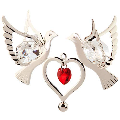 Matashi Silver Plated with Red Crystal Studded Love Dove Birds Ornament with Heart, Best Love Symbol Gift