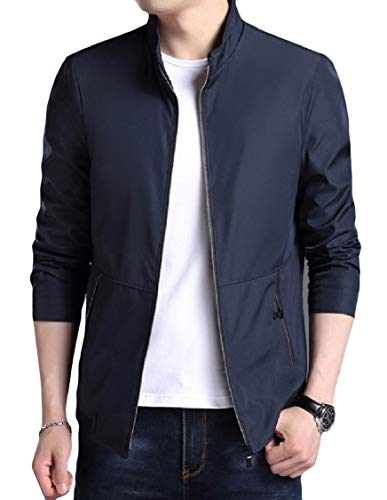 Sleeve EnergyMen Solid Pattern1 Stylish Stand Collar Outwear Pockets Zipper Long Jacket Bp7qax