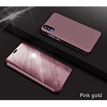 Huawei P20 Mirror Case,Huawei P20 Case Leather Rose Gold Phone Protective Cover,Gostyle Fashion Slim Fit Hard Flip Shockproof Case with Built-in Kickstand Function Make Up Mirror Clear Case