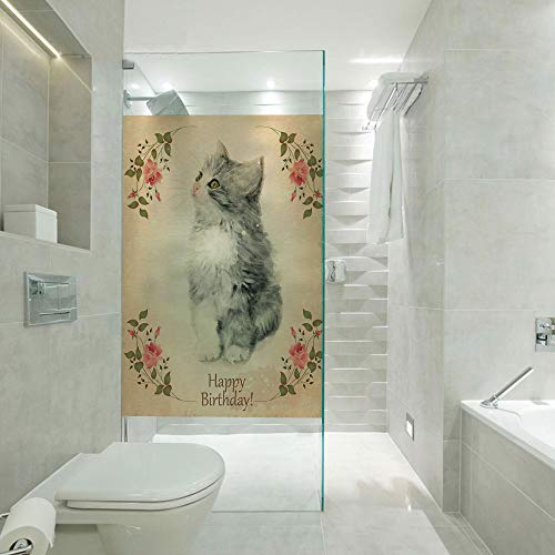 (RWNFA Static Cling Glass Film Non Adhesive Window Cling,Adorable Fluffy Cat Rose Branches Greeting Card Inspired Design,Customizable Size,Suitable for Bathroom,Door,Glass etc,Tan Grey Coral)