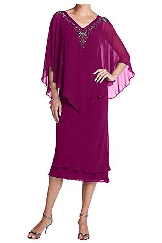 Fuchsia Abendkleider ausschnitt Wadenlang Festlichkleider Partykleider Damen Chiffon Brautmutterkleider V Charmant 4gqO7nfw
