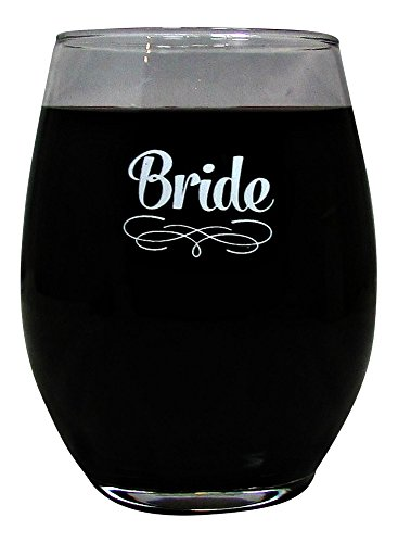 Wedding Party 15 Ounce Glass Stemless Wine Glass (Bride)