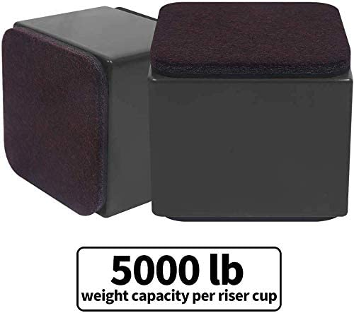 Lift Furniture Risers Solid Steel Bed Risers to Heavy Furniture or Beds Self-Adhesive Furniture Chair Table Risers Square Supports 20,000 lbs Set of 4 Width 3.15-Adds 2