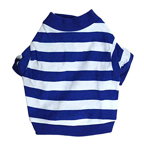 Dog Clothes Pet Striped T-Shirt Puppy Apparel for Small Dogs Blue Large