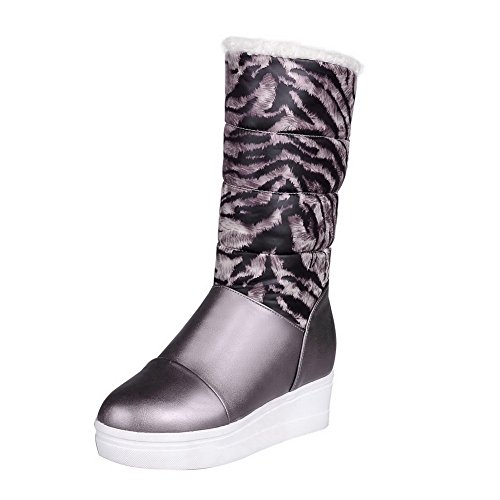 Allhqfashion Women's Low-Top Assorted Color Pull-On Round Closed Toe High-Heels Boots Gray