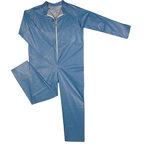 Coated Polypropylene Coveralls (Gempler's Thick Poly-Coated Lightweight Blue Protective Coveralls, Size Large)