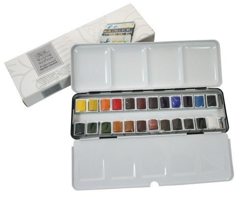 Windsor & Newton artist watercolor half pan 24 color set light weight metal box set (japan import) by Winsor & Newton