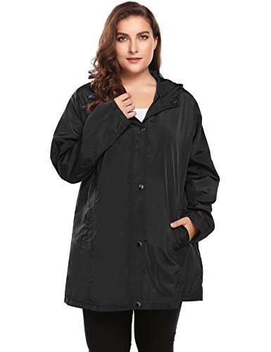 INVOLAND Womens Plus Size Lightweight Windbreaker Raincoat Travel Rain Jacket Windproof Hiking Portable Waterproof Coat