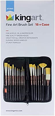 KINGART Fine Art Brush Set + Case - Set Of 18