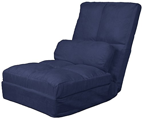 Epic Furnishings Cosmo Click Clack Convertible Futon Pillow-Top Flip Chair Child-size Sleeper Bed, Microfiber Suede Dark Blue (Blue Chair Sleeper)