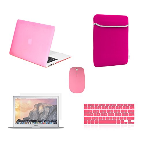 TOP CASE - 5 in 1 Omni Bundle Rubberized Hard Case, Keyboard Cover, Screen Protector, Sleeve, Mouse Compatible MacBook Air 13