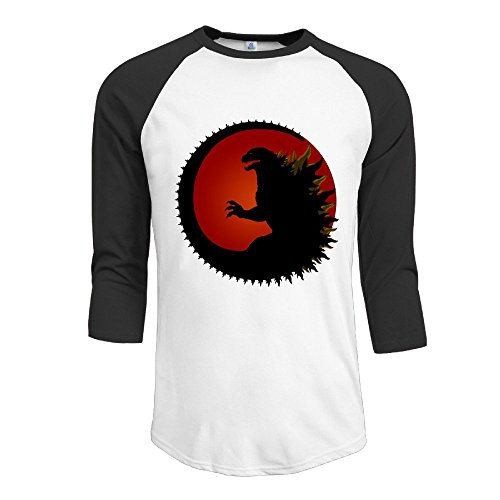 TopSeller Men's Godzilla Logo 3/4 Sleeve Baseball T Shirts/Tee
